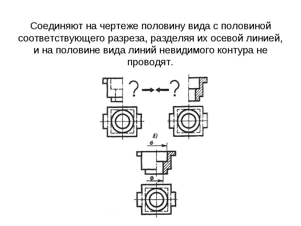 Соединяют на чертеже половину вида с половиной соответствующего разреза, раз...