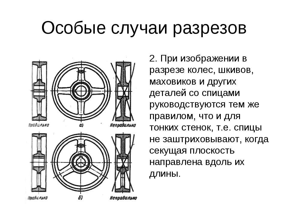 Особые случаи разрезов 2. При изображении в разрезе колес, шкивов, маховиков...