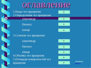 оглавление 1.Виды тел вращения 2.Определения тел вращения: а)цилиндр б)кону