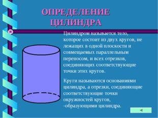 ОПРЕДЕЛЕНИЕ ЦИЛИНДРА Цилиндром называется тело, которое состоит из двух круго
