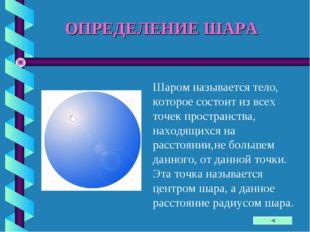 ОПРЕДЕЛЕНИЕ ШАРА Шаром называется тело, которое состоит из всех точек простра