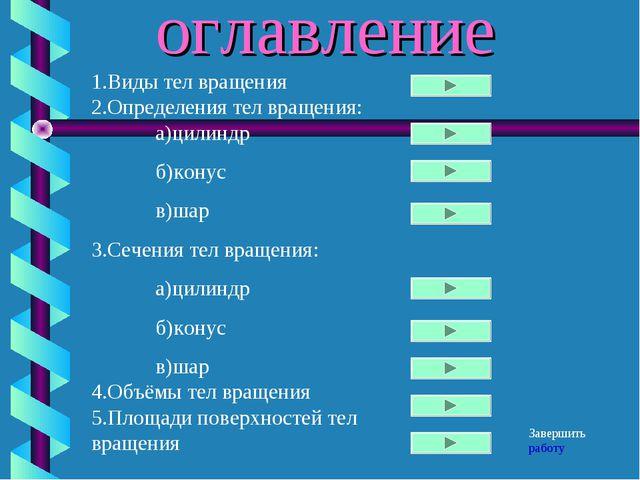 оглавление 1.Виды тел вращения 2.Определения тел вращения: а)цилиндр б)кону...