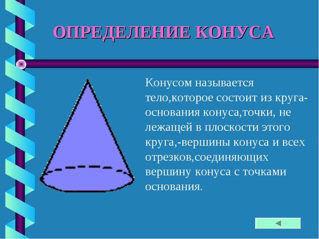 ОПРЕДЕЛЕНИЕ КОНУСА Конусом называется тело,которое состоит из круга-основания...