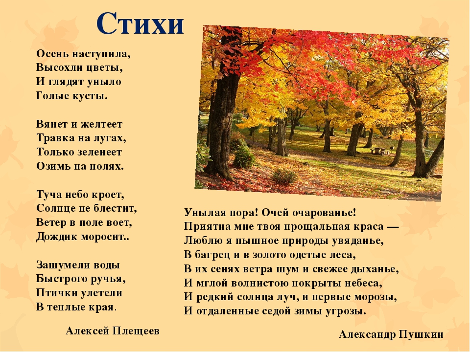 Стихи Осень наступила, Высохли цветы, И глядят уныло Голые кусты. Вянет и...