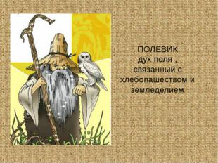 ПОЛЕВИК дух поля , связанный с хлебопашеством и земледелием