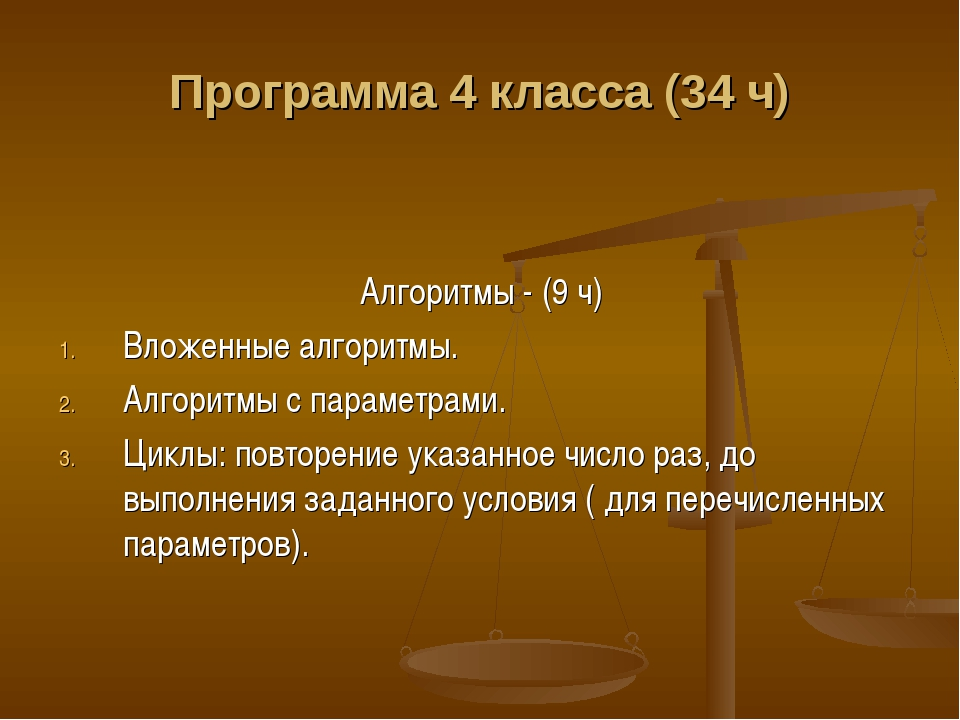 Программа 4 класса (34 ч) Алгоритмы - (9 ч) Вложенные алгоритмы. Алгоритмы с...