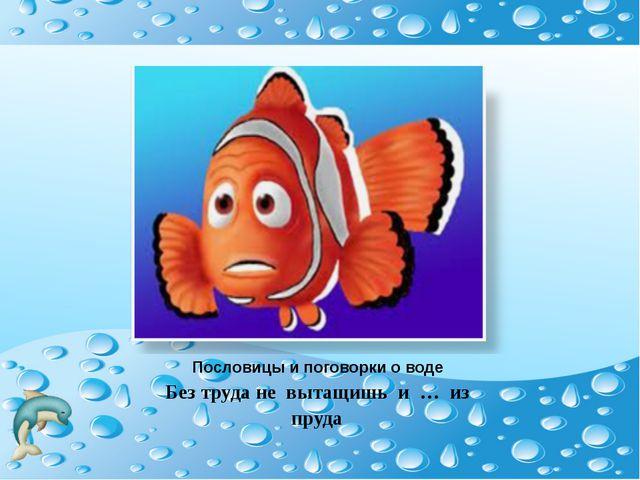Пословицы и поговорки о воде Без труда не вытащишь и … из пруда
