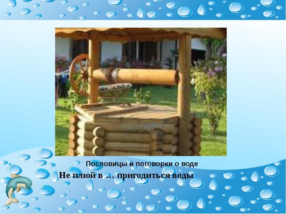 Пословицы и поговорки о воде Не плюй в … пригодиться воды