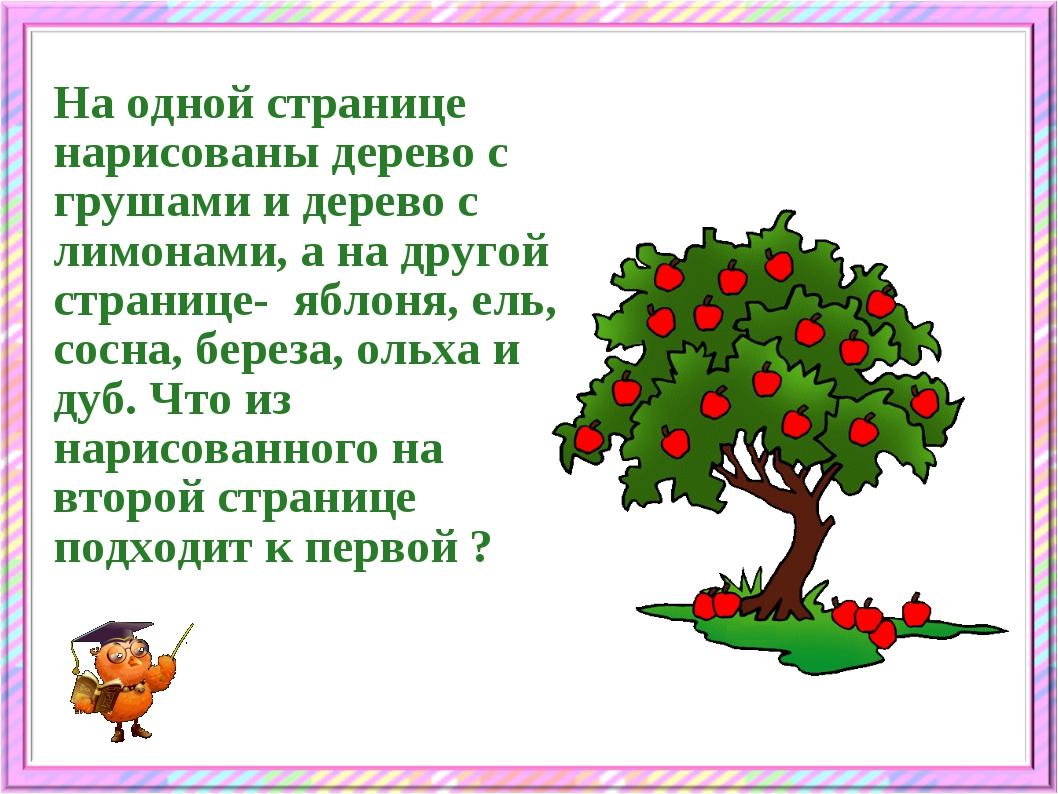 На одной странице нарисованы дерево с грушами и дерево с лимонами, а на друго...