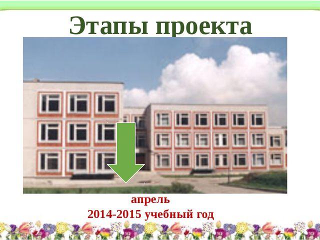 Этапы проекта апрель 2014-2015 учебный год
