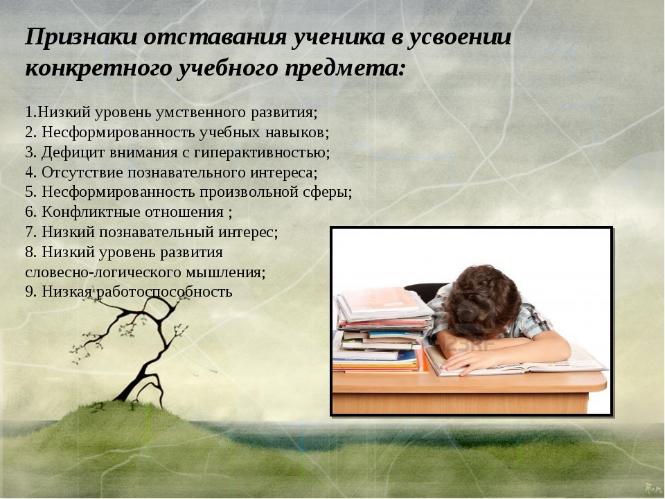 Признаки отставания ученика в усвоении конкретного учебного предмета: Низкий...