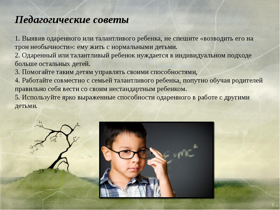 Педагогические советы 1. Выявив одаренного или талантливого ребенка, не спеши...