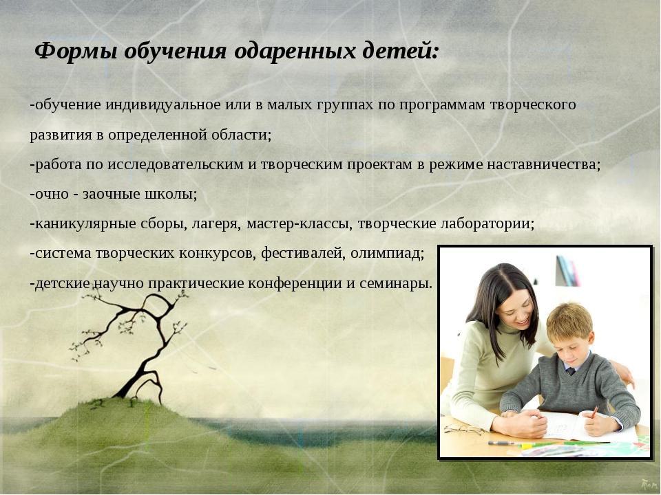 Формы обучения одаренных детей: -обучение индивидуальное или в малых группах...