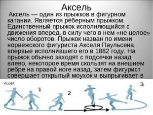 Аксель Аксель — один из прыжков в фигурном катании. Является рёберным прыжком