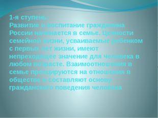 1-я ступень: Развитие и воспитание гражданина России начинается в семье. Ценн