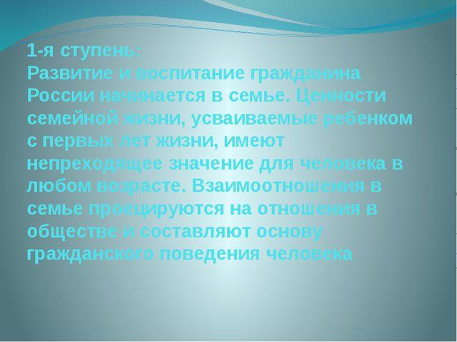 1-я ступень: Развитие и воспитание гражданина России начинается в семье. Ценн...