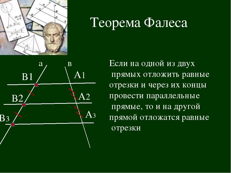 Теорема Фалеса В1 В2 В3 А2 А1 А3 Если на одной из двух прямых отложить равные...