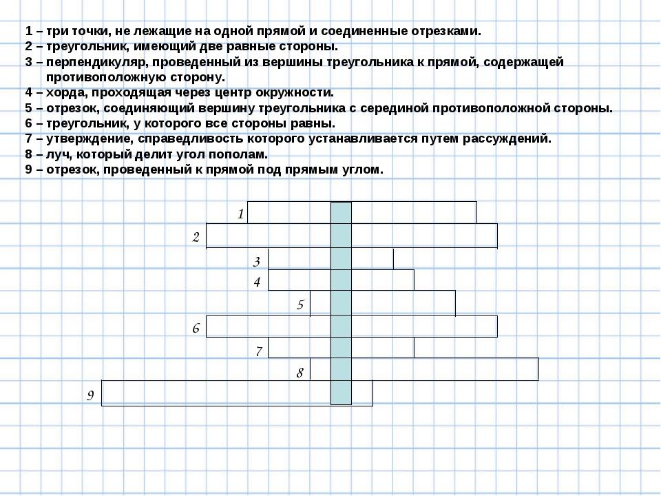 1 – три точки, не лежащие на одной прямой и соединенные отрезками. 2 – треуго...