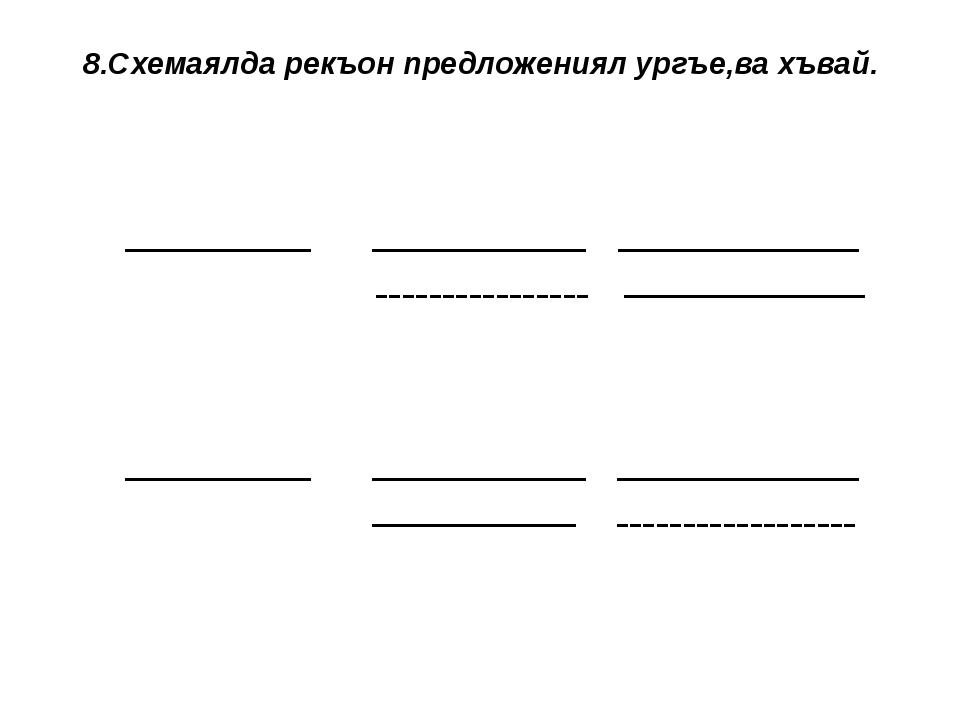 8.Схемаялда рекъон предложениял ургъе,ва хъвай.