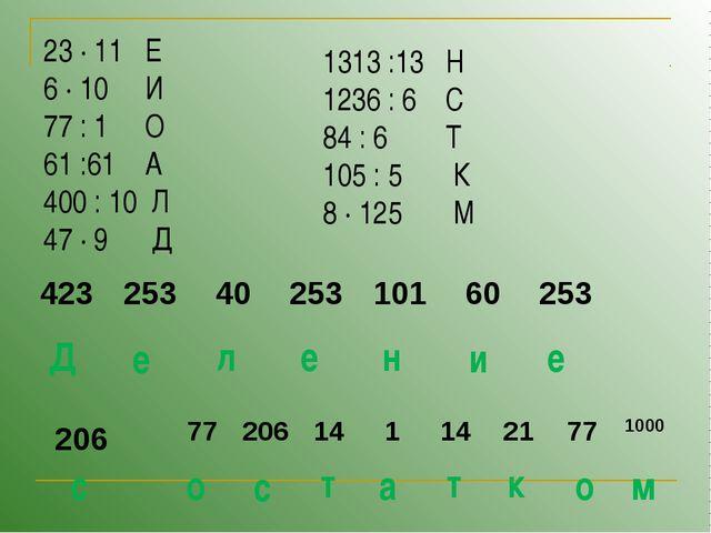 23 ∙ 11 Е 6 ∙ 10 И 77 : 1 О 61 :61 А 400 : 10 Л 47 ∙ 9 Д 1313 :13 Н 1236 : 6...