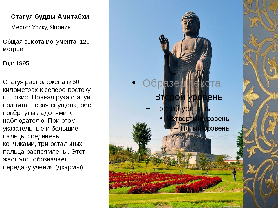 Статуя будды Амитабхи Место: Усику, Япония Общая высота монумента: 120 метр...