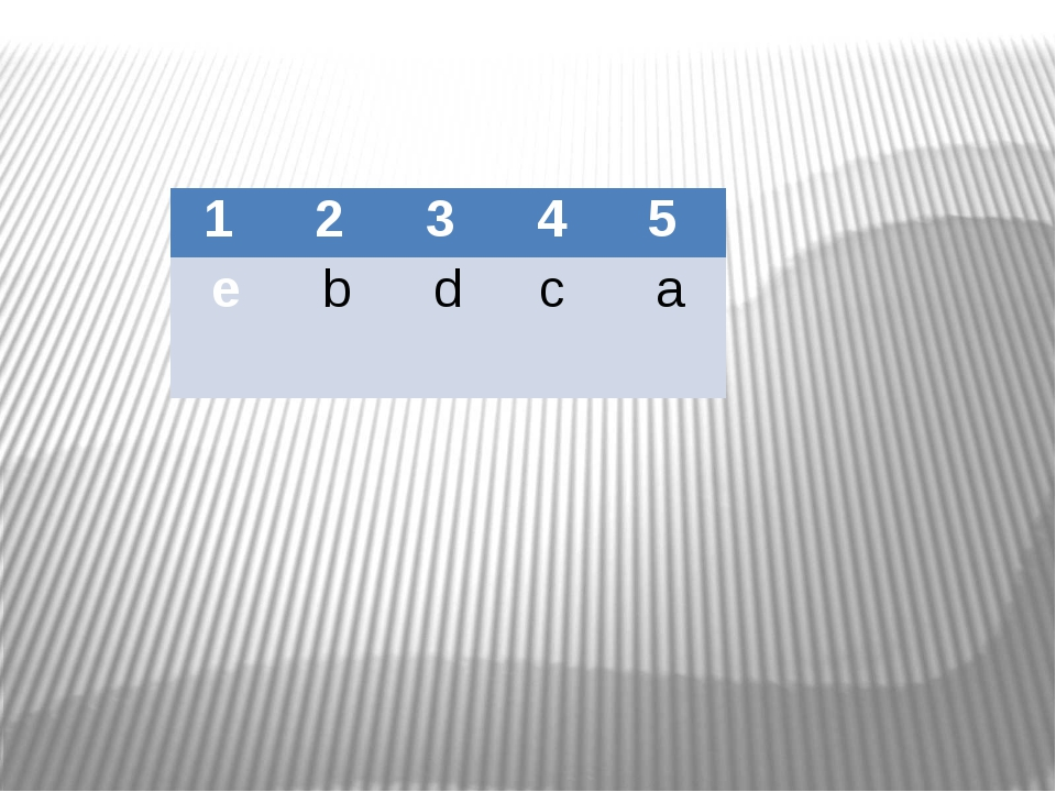1 2 3 4 5 e b d c a