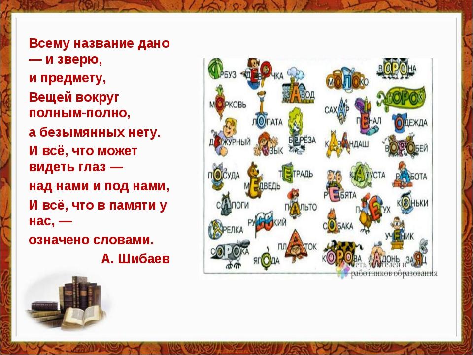 Всему название дано — и зверю, и предмету, Вещей вокруг полным-полно, а безым...