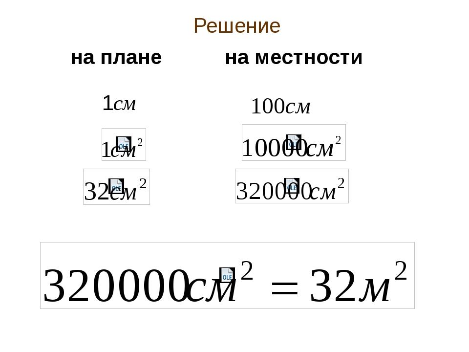 Решение 1см 100см на плане на местности