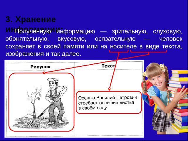 3. Хранение информации; Полученную информацию — зрительную, слуховую, обонят...