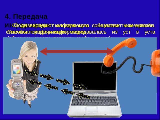 4. Передача информации; Люди передают информацию с незапамятных времён. Снач...