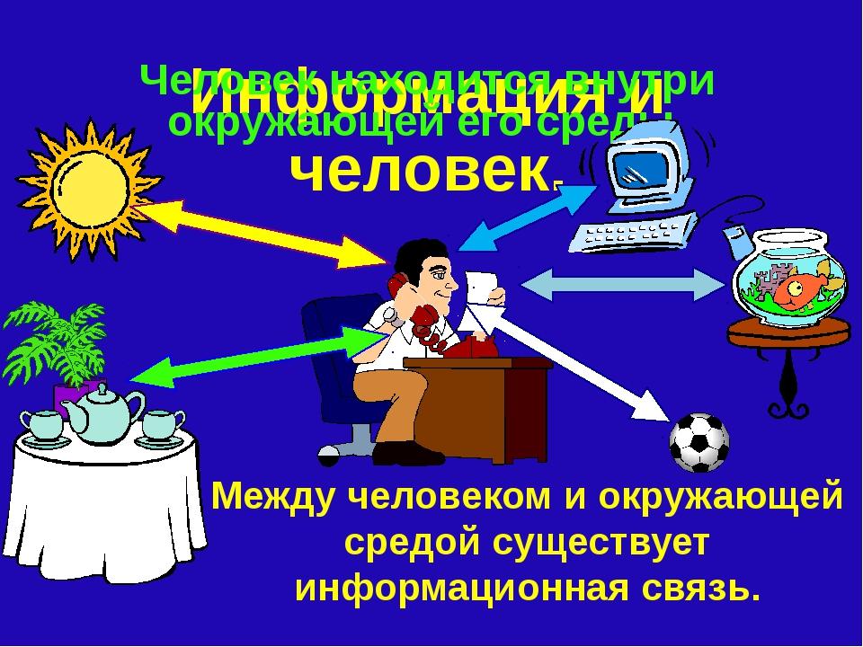 Информация и человек. Человек находится внутри окружающей его среды. Между че...