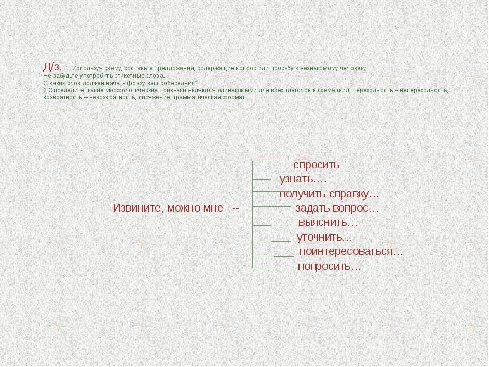 Д/з. 1. Используя схему, составьте предложения, содержащие вопрос или просьб...
