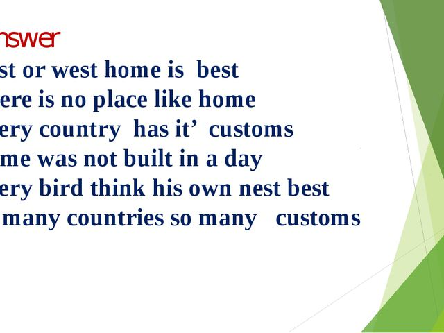 Y.Answer 1.East or west home is best 2.There is no place like home 3.Every c...