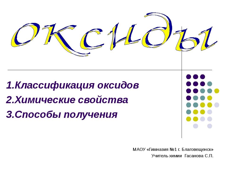 1.Классификация оксидов 2.Химические свойства 3.Способы получения МАОУ «Гимна...