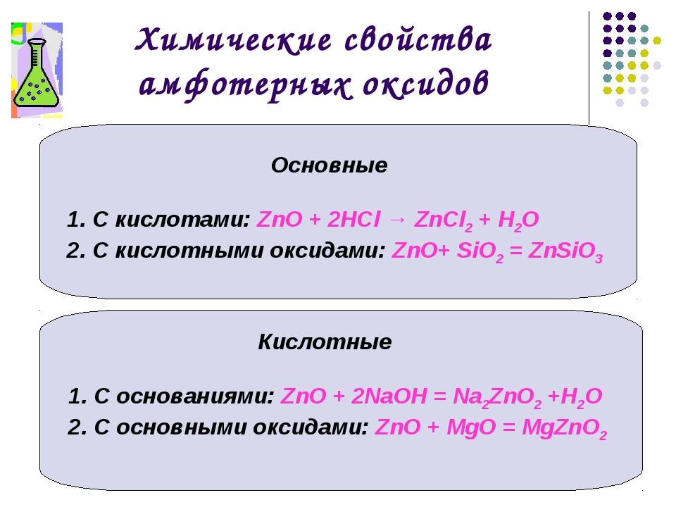 Химические свойства амфотерных оксидов Основные С кислотами: ZnO + 2НСl → ZnС...