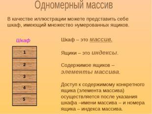 В качестве иллюстрации можете представить себе шкаф, имеющий множество нумеро