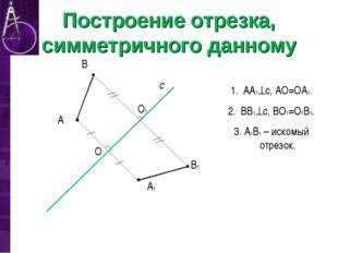 Построение отрезка, симметричного данному А с А1 В В1 O O1 АА1с, АО=ОА1. ВВ1