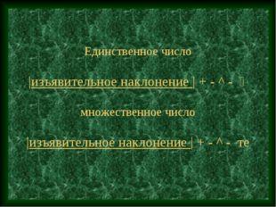Единственное число  изъявительное наклонение   + - ^ -  множественное число
