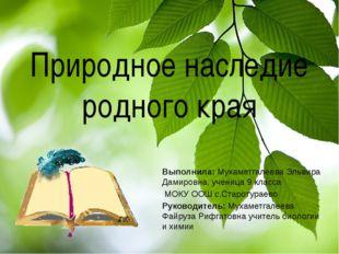 Природное наследие родного края Выполнила: Мухаметгалеева Эльвира Дамировна,