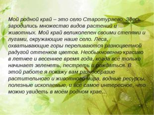 Мой родной край – это село Старотураево. Здесь зародились множество видов рас