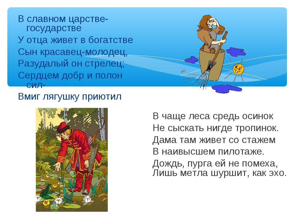 В славном царстве-государстве У отца живет в богатстве Сын красавец-молодец,...