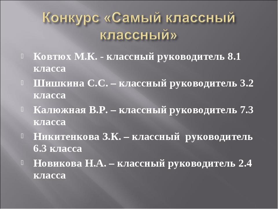 Ковтюх М.К. - классный руководитель 8.1 класса Шишкина С.С. – классный руково...