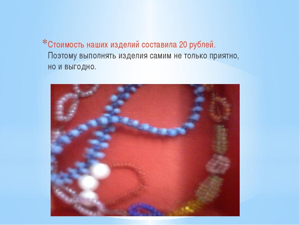 Стоимость наших изделий составила 20 рублей. Поэтому выполнять изделия самим...