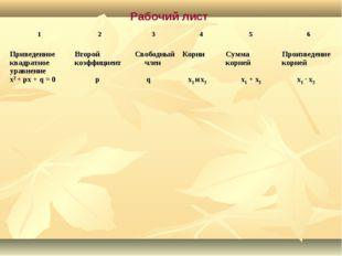 Рабочий лист 1 23456 Приведенное квадратное уравнение х2 + px + q = 0Вт