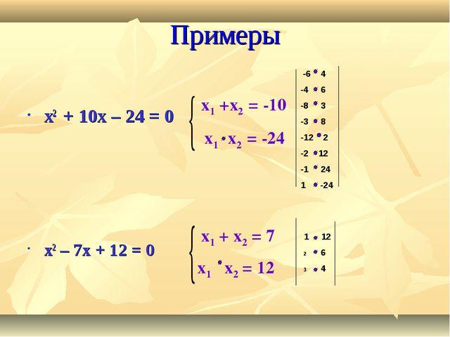 Примеры x2 + 10x – 24 = 0 x2 – 7x + 12 = 0 x1 +x2 = -10 x1 x2 = -24 x1 + x2 =...