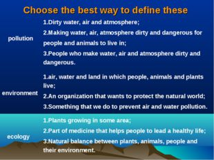 Choose the best way to define these pollution 	1.Dirty water, air and atmosph