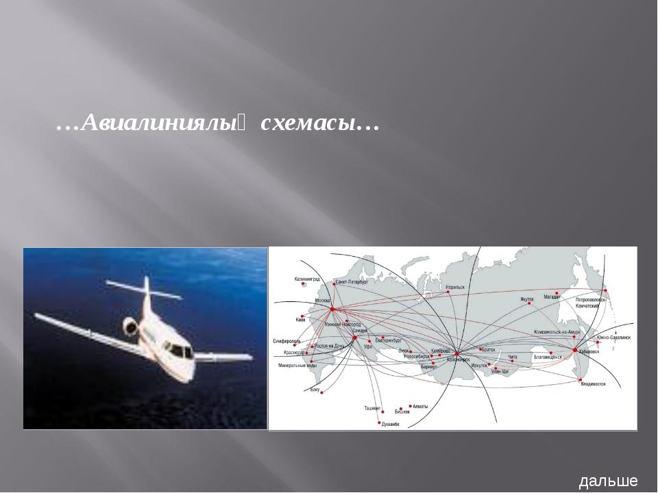 …Авиалиниялық схемасы… дальше
