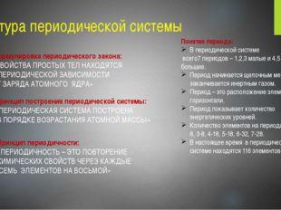 Структура периодической системы Формулировка периодического закона: «СВОЙСТВА
