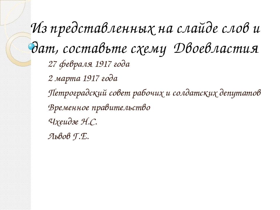 Из представленных на слайде слов и дат, составьте схему Двоевластия 27 феврал...