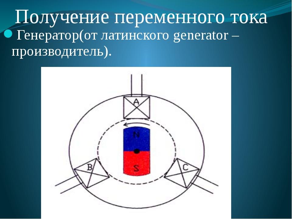 Получение переменного тока Генератор(от латинского generator – производитель).